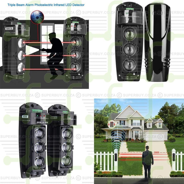 Triple Beam Alarm Photoelectric Infrared Detector Security System (Pair) Install 450m Outdoor