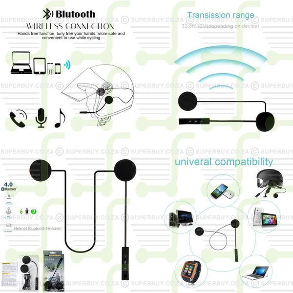Wireless Bluetooth Helmet Headset