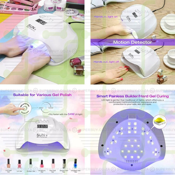 UV Gel Polish LED Lamp Nail Dryer 54W SUNUV SUNX Auto Light Smart Sensor Salon Home Manicure