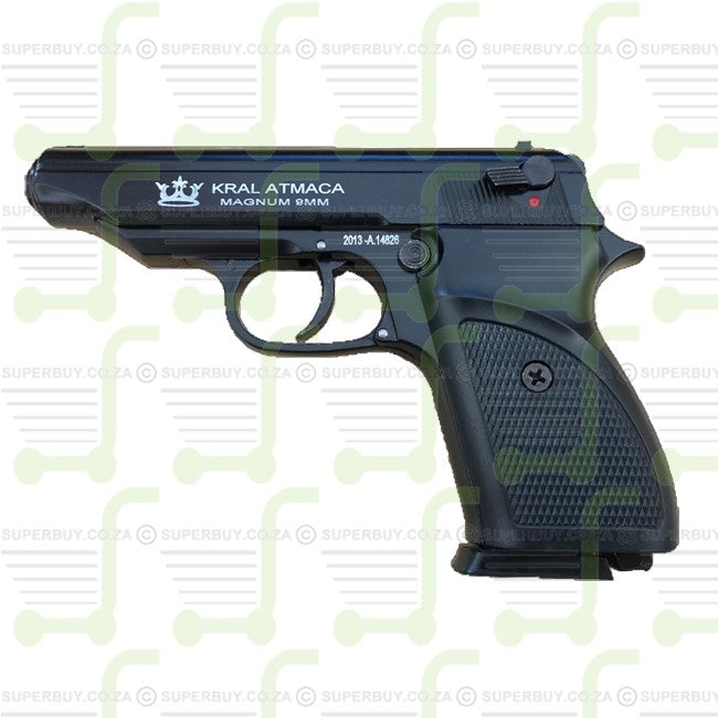 Blank Gas Firing Pepper Gun Kral Atmaca Magnum Black 9mm P.A.K.