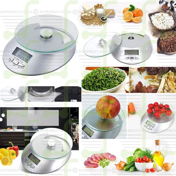 Electronic Digital Kitchen Scale Glass Countertop Scale 5kg