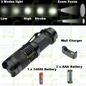 500LM 3 Mode Zoom Focus LED Flashlight Torch
