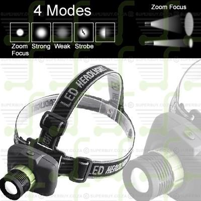 Ultra Bright 3 Mode Adjustable Zoom In Out LED Headlight Headlamp