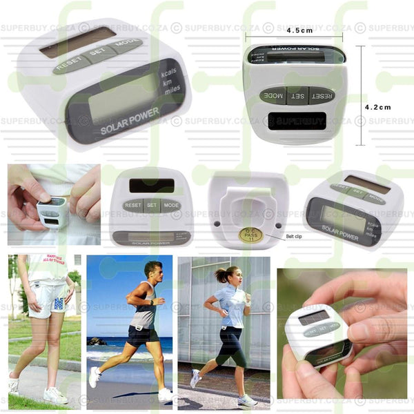 Solar Powered Digital LCD Pedometer Measuring Steps Distance And Calories Burned