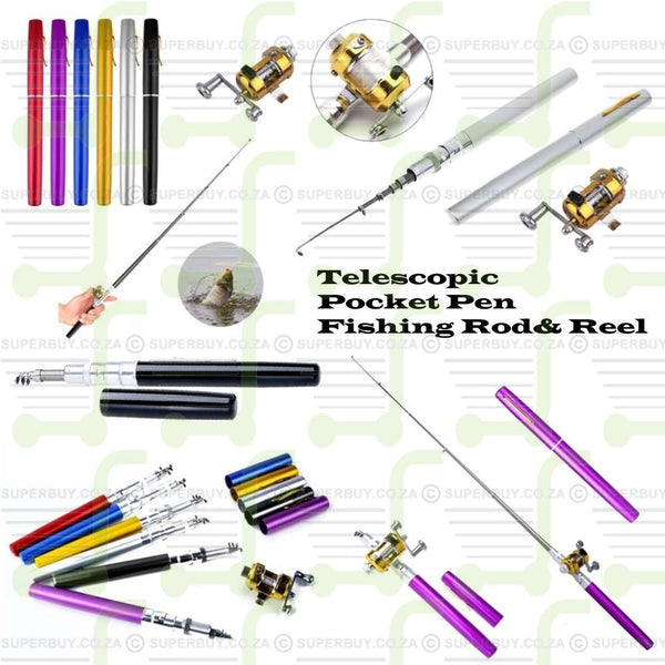 Aluminium Telescopic Pocket Pen Fishing Rod Pole & Reel