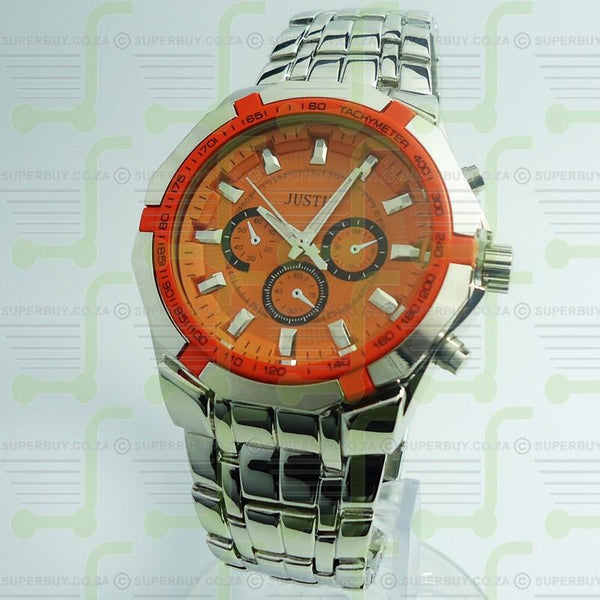 Gents Link Bracelet Watch - Silver Orange