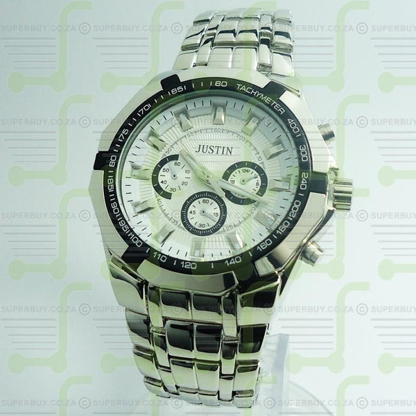 Gents Link Bracelet Watch - Silver White