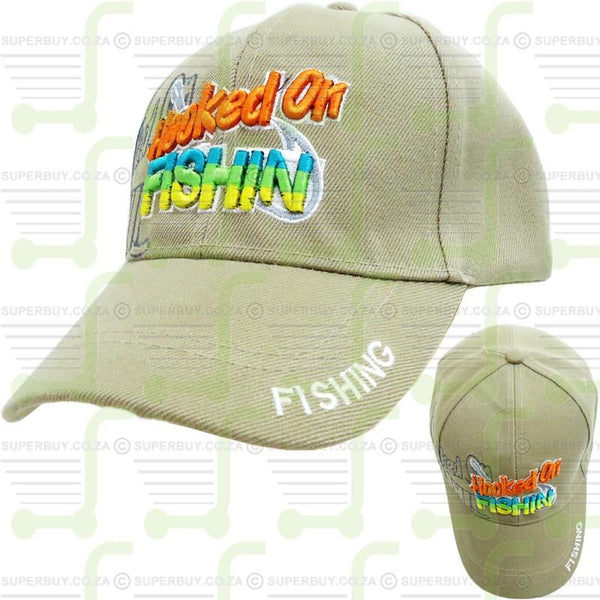 Hooked On Fishin Fishing Cap Fishing Hat Beige