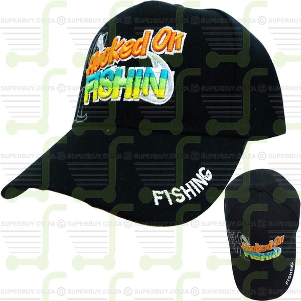 Hooked On Fishin Fishing Cap Fishing Hat Black