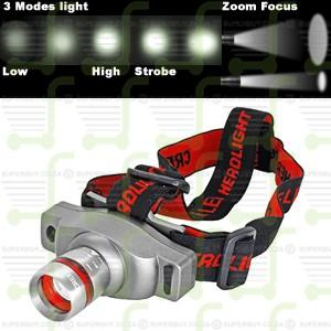 CREE Q5 3 Mode Zoom Focus Rechargeable LED Adjustable Headlight Headlamp Torch