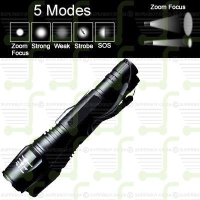 CREE V2 XML T6 1600LM 5 Mode Zoom Focus LED Flashlight Torch