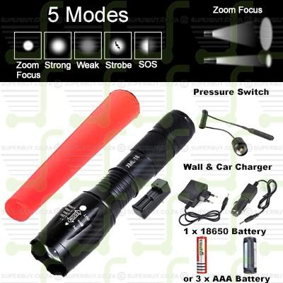 CREE XML T6 V3 5 Mode Zoom Focus LED Flashlight Torch