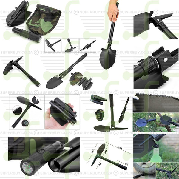 Multi-purpose Folding Hand Shovel and Pick with Carrying Pouch
