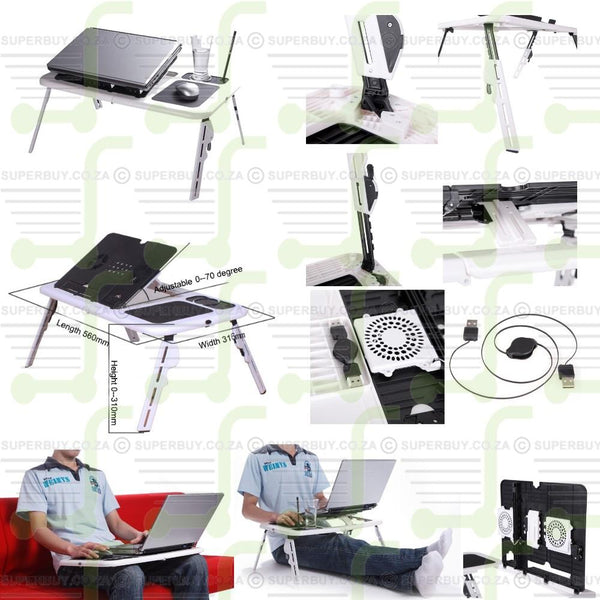 Portable, Flexible & Foldable Laptop E Table with Built-In Cooling Fans & Mouse Pad