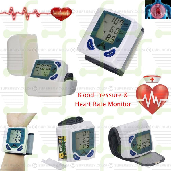 Digital LCD Auto Blood Pressure & Heart Rate Monitor with Standard Wrist Cuff