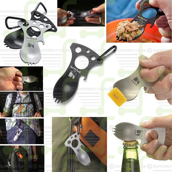 Mini Survival On The Go Eat N Tool Outdoor Multitool Gadget