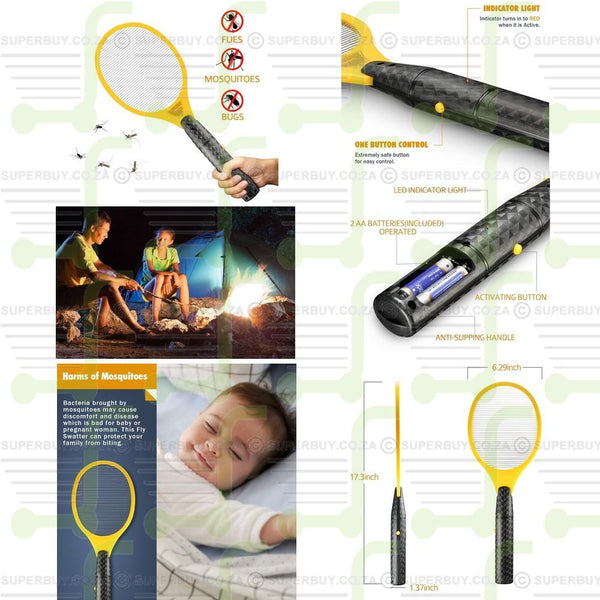 Electric Insect Mosquito Bug Zapper Fly Swatter Racket for Pest Control Indoor/Outdoor Use