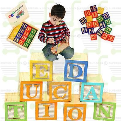 Classical Toy Wooden ABC Alphabet Blocks 27 Pcs