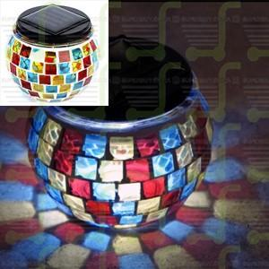 Solar Powered Decorative Table Lamp Mosaic Glass Jar Light