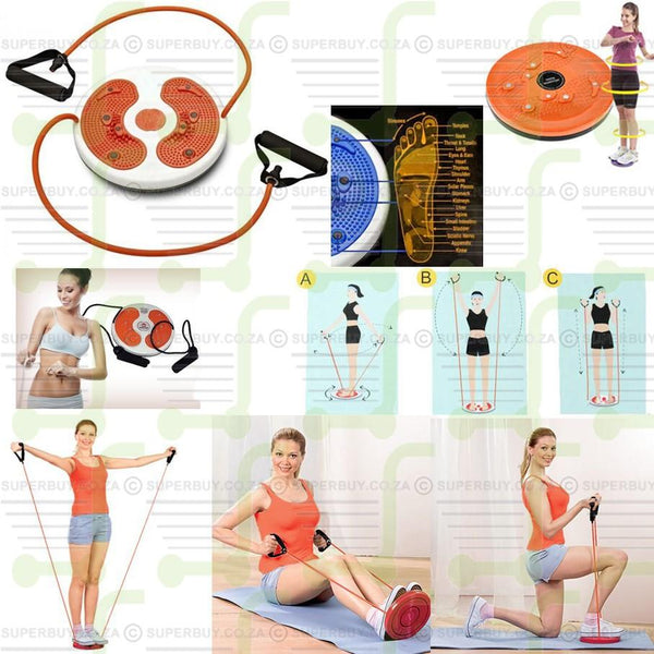Waist Twister Disc Figure Trimmer with Rope  - Magnetic Foot Massage Therapy