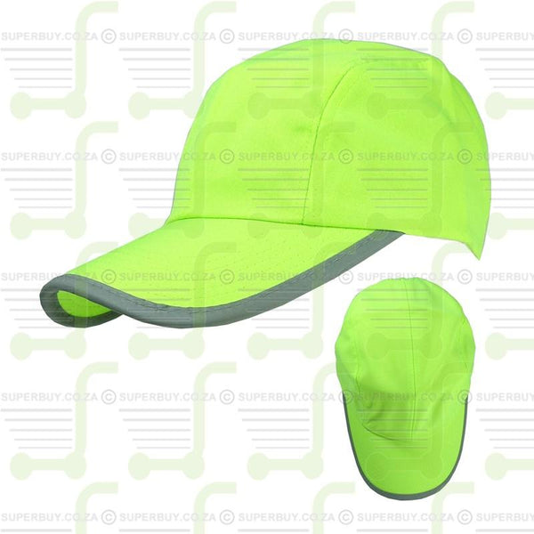 Hi Visibility Reflective Binding Safety Baseball Peak Cap Yellow v1