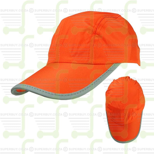 Hi Visibility Reflective Binding Safety Baseball Peak Cap Orange v1