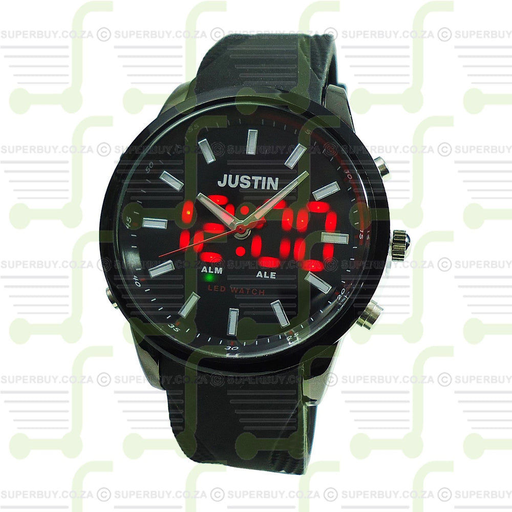 Mens Watch Black Strap Black Black Face Red LED