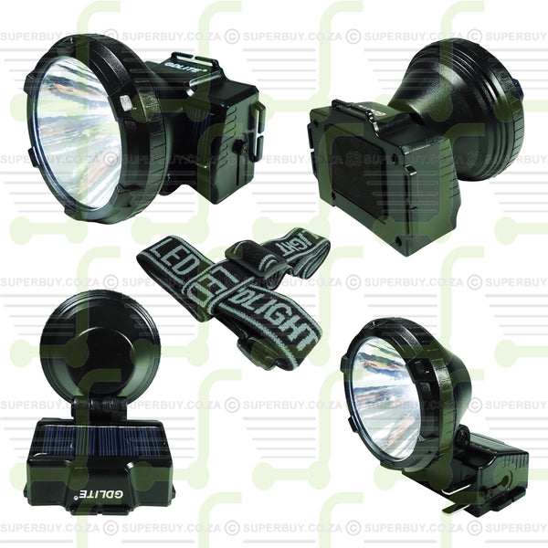 GDLite Rechargeable LED Head Light Head Lamp with Solar Panel