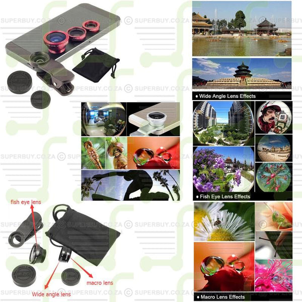 Universal 3 in 1 Clip On Camera Lens Kit Wide Angle Fish Eye Macro For Smart Phones