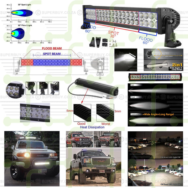 72W 355 mm 14 Inch LED Light Bar Flood and Spot Work Light Offroad Lamp