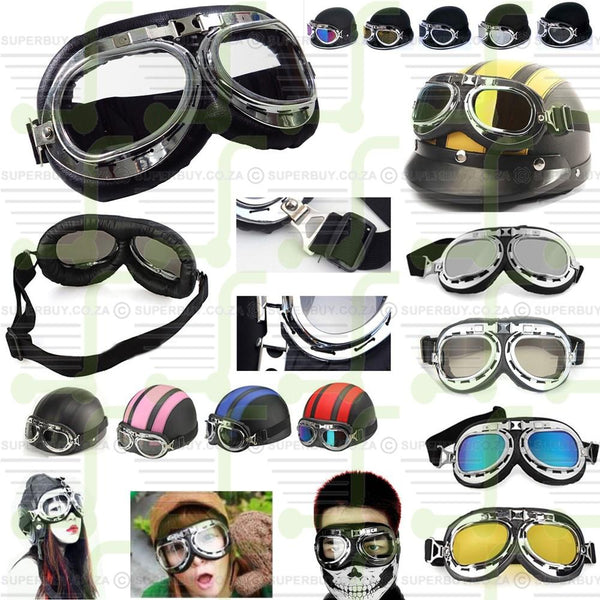 Retro Vintage Goggles Motorcycle Motorbike Scooter Goggles Clear Lens