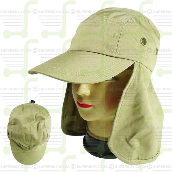 Cap with Neck Flap for Sun Protection Beige