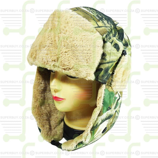 Faux Fur Trapper Hat Russian Ushanka Summer Tree Camo