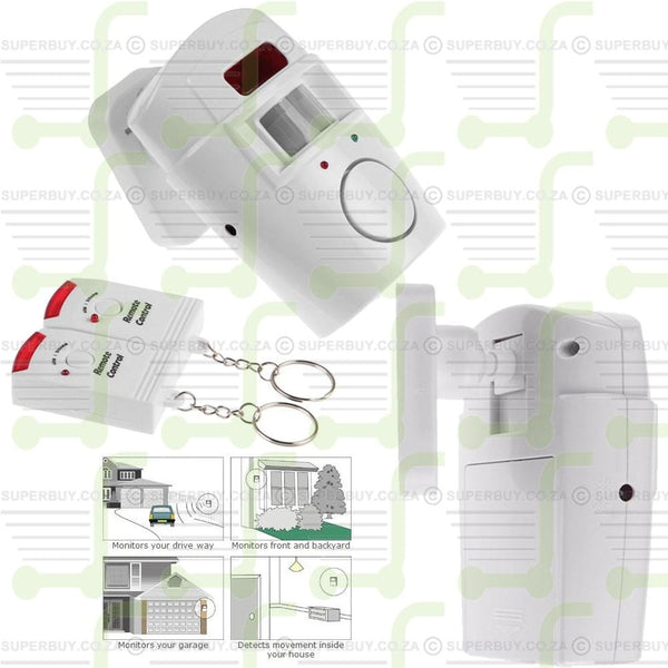 Super Sonic 105dB PIR Motion Sensor Alarm with 2 Remote Controls