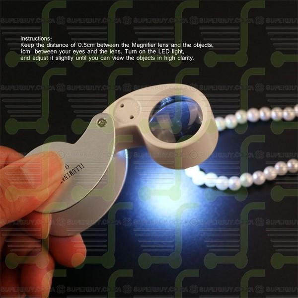 40 x 25mm Magnifying Jewelers Loupe with LED Light