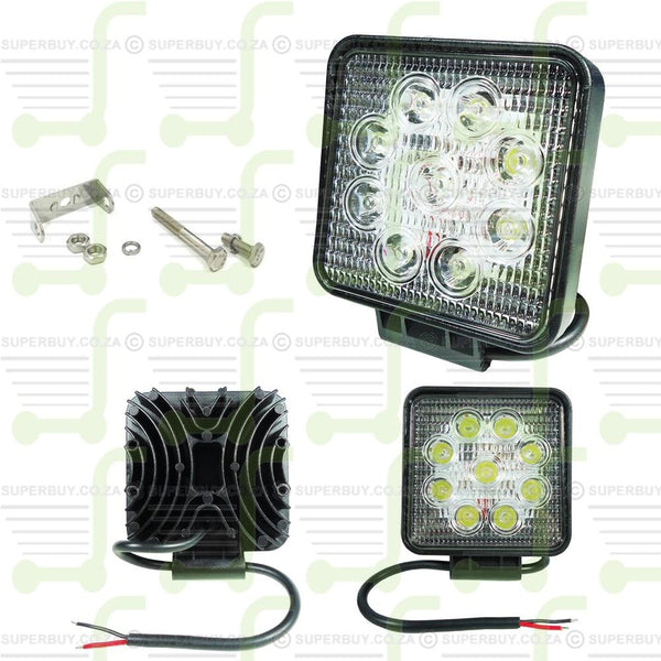 Car Irradiation Spot Light Lamp with 9 LED Lights 27W Square