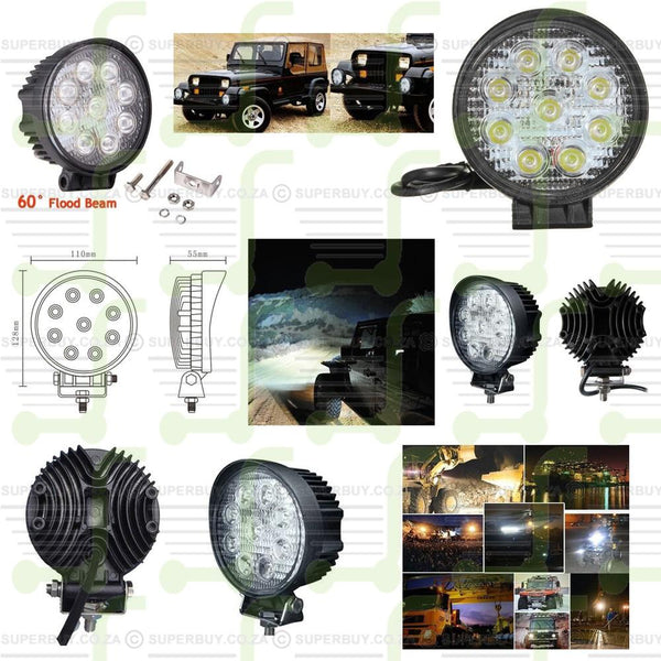 Car Irradiation Spot Light Lamp with 9 LED Lights 27W Round