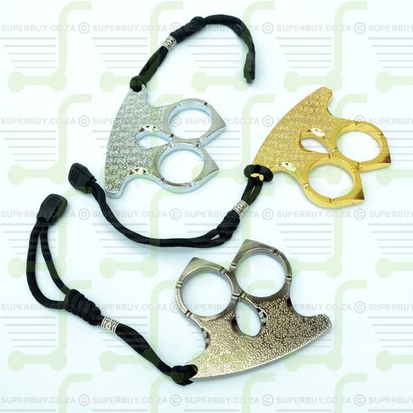Two Finger Knuckle Duster Self Defence Weapon Silver