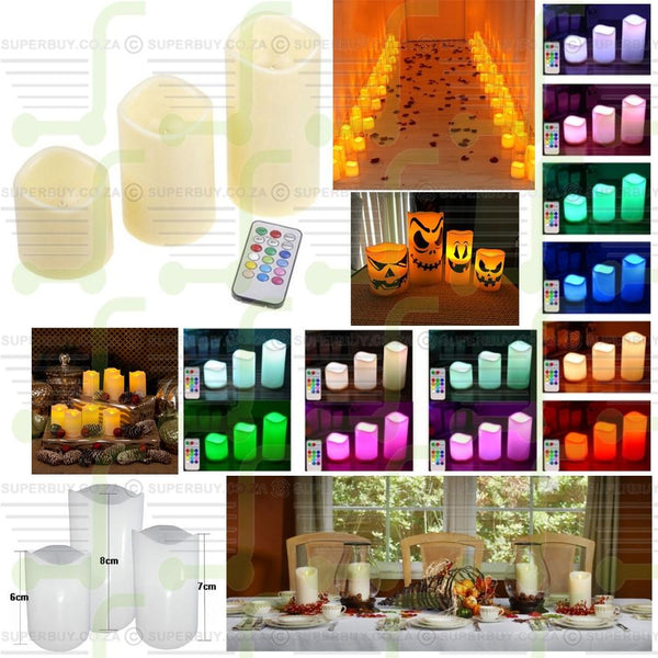 Battery Powered 12 Color Changing LED Flameless Candles with Remote Control (Set of 3)
