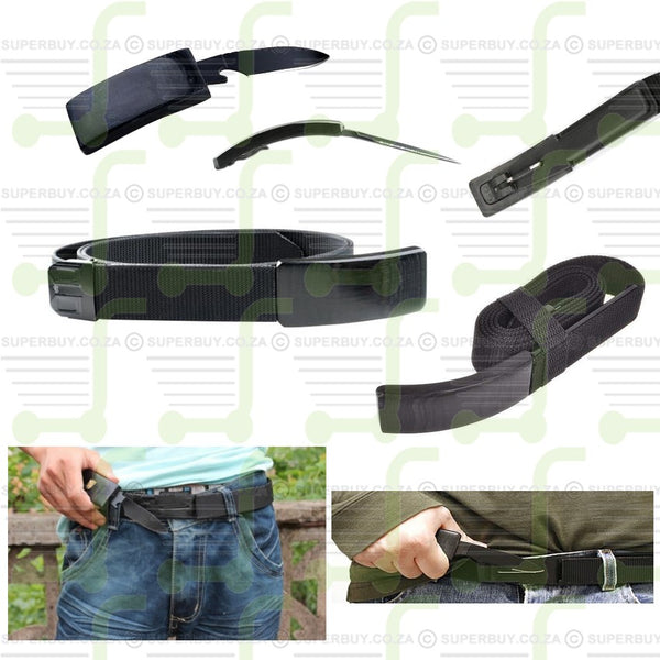 The Dan Valois Belt Buckle Knife with Adjustable Nylon Belt