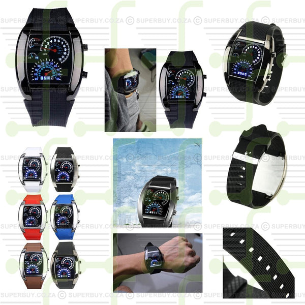 Cool Car Meter Dial Quartz Blue Flash Dot Matrix LED Racing Watch (Black)
