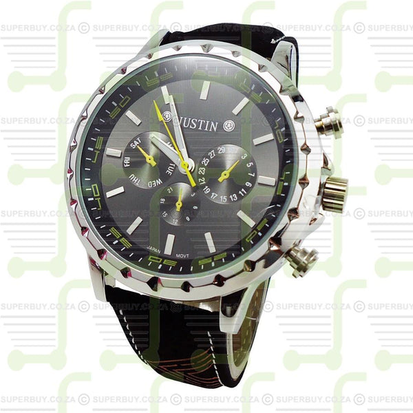 Gents Wrist Watch Black Strap Black Face Yellow Markers
