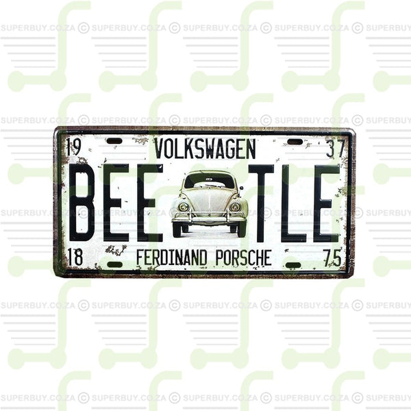 Retro Antique Style Number Plate Type Novelty Sign Plate Decor - Volkswagen Beetle