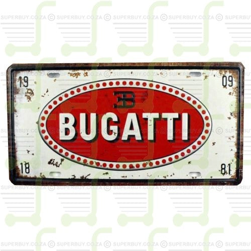 Retro Antique Style Number Plate Type Novelty Sign Plate Decor - Bugatti