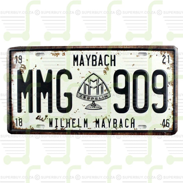 Retro Antique Style Number Plate Type Novelty Sign Plate Decor - Wilhelm Maybach MMG909