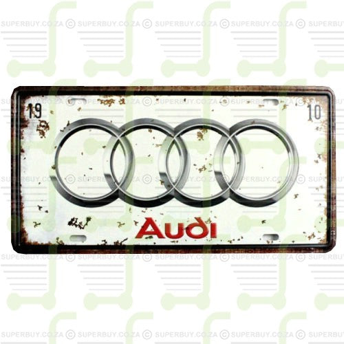 Retro Antique Style Number Plate Type Novelty Sign Plate Decor - Audi