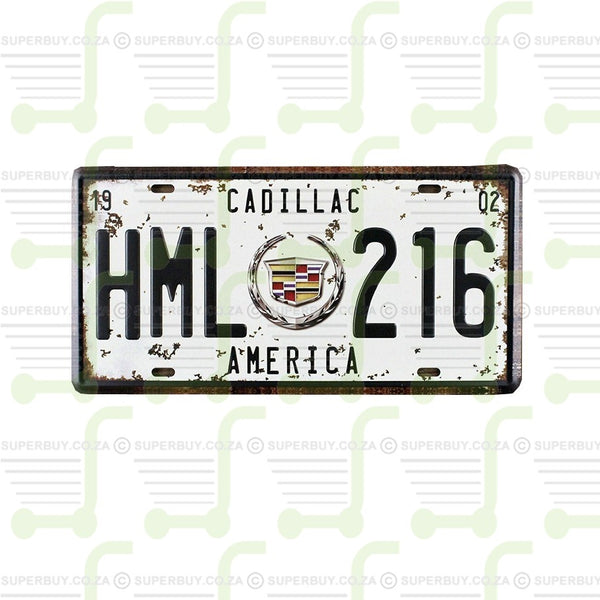 Retro Antique Style Number Plate Type Novelty Sign Plate Decor - Cadillac America HML216