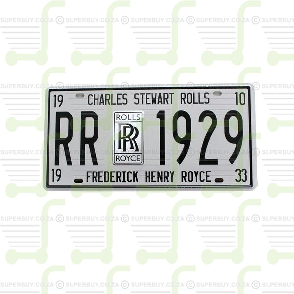 Retro Antique Style Number Plate Type Novelty Sign Plate Decor - Rolls Royce