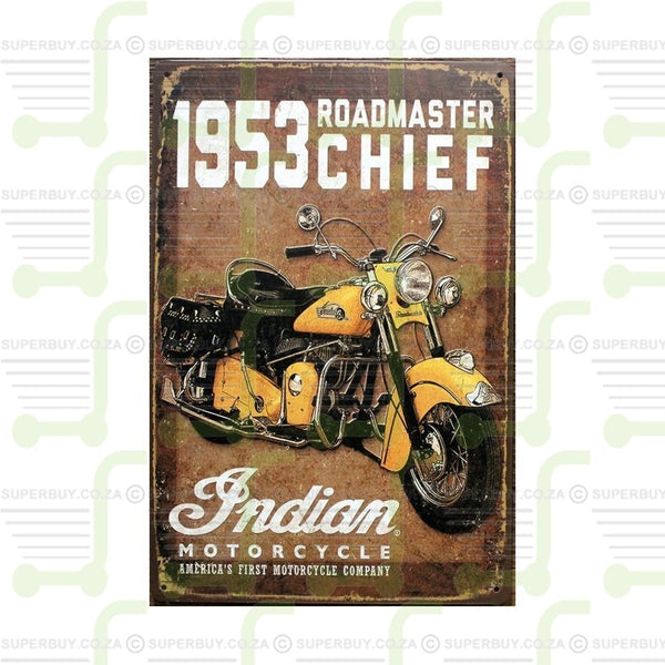 Antique Style Number Plate Sign Plate Decor - 1953 Roadmaster Chief Indian Motorcycles