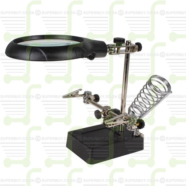 Work Stand Helping Hand LED Illumination Auxiliary Clip Magnifier with Soldering Stand v1